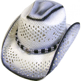 This Nante Pinch Front Gray Stained White Straw Cowboy Hat has an inner stretch band fitting with cool open venting on this white straw hat makes it lightweight and comfortable and stylish for any country western festival.