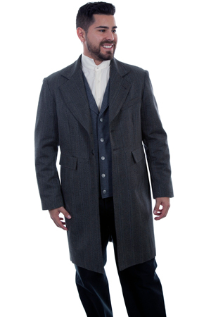 This Mens Scully USA Made Wool Cotton Blend 3/4 Black Frock Coat has old west tailoring and construction made from the original and is authentic in every detail.button closure, two front flap pockets and left chest pocket.