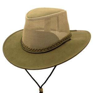 "The ""Soaka Breeze"" Olive Mesh Crown Aussie Hat is UV rated and made of the hard to find canvas brim with a mesh crown for a unique canvas hat."