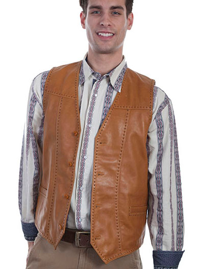 This Easy Rider Mens Saddle Tan Buck Stitch Lambskin Western Vest is a vintage look for men with sanded edges and buck stitching with 4 button front closure and 2 lower welt pockets and is fully lined with an inside open pocket.