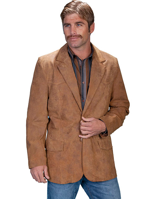 This Mens Scully Maple Leather Traditional Cowboy Blazer is a vintage look for men with single front flap pockets and a 2 button front closure with center back vent for ease including 2 inner pockets