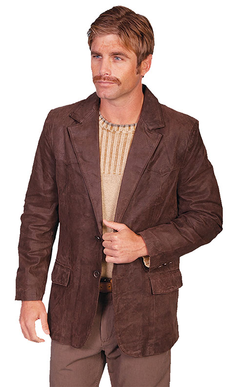 This Mens Scully Crackled Brown Leather Traditional Cowboy Blazer is a vintage look for men with single front flap pockets and a 2 button front closure with center back vent for ease including 2 inner pockets