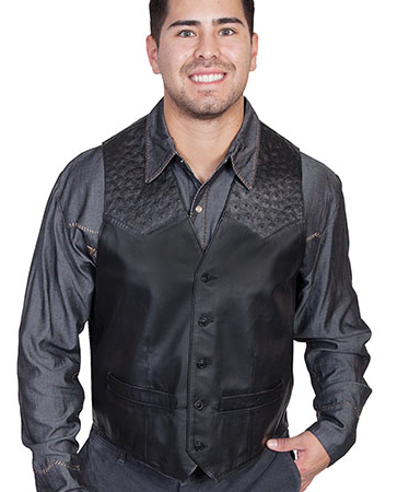 This Mens Scully Black lambskin leather Ostrich Western Vest is assembled in the USA with a contrasting real ostrich leather yoke with five button front closure with two front pockets and one inside pocket completely lined.