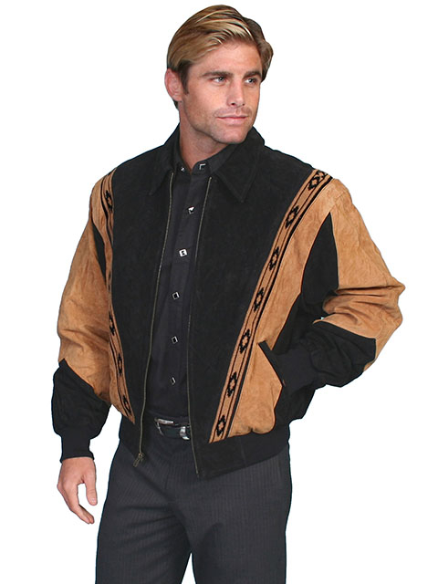 This Mens Scully Two Tone Black Suede Zip Front Rodeo Jacket is a favorite cowboy western jacket for any occasion with a warm inner lining and that popular southwestern design with zip front an outer pockets.