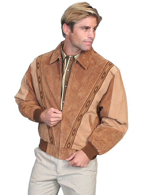 This Mens Scully Two Tone Camel Brown Suede Zip Front Rodeo Jacket is a favorite cowboy western jacket for any occasion with a warm inner lining and that popular southwestern design with zip front an outer pockets.