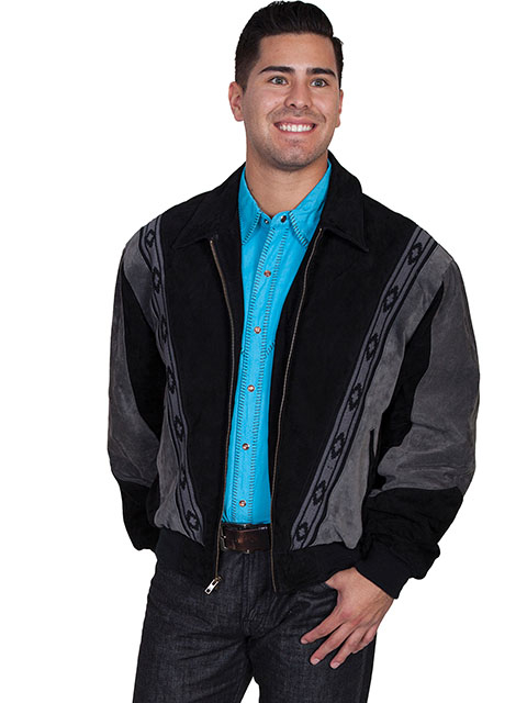 This Mens Scully Two Tone Black Gray Suede Zip Front Rodeo Jacket is a favorite cowboy western jacket for any occasion with a warm inner lining and that popular southwestern design with zip front an outer pockets.