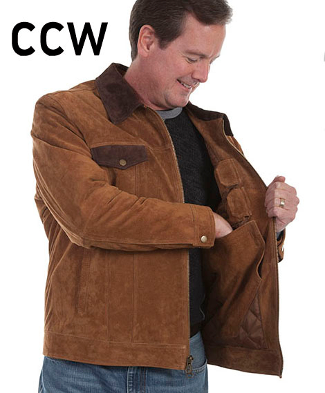 This Mens Scully Brown Suede Concealed Carry Western Jacket features contrasting dark brown collar and 2 brown snap flap chest pockets with 2 lower side gun entry pockets with a concealed carry pocket.