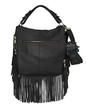 This Black Fringe Leather Western CCW Handbag Purse with Holster for the cowgirl who wants to show her style yet be protected. This CCW Fringe Western Purse is perfect for your concealed needs with a real gun holster