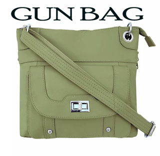 Our ARMY GREEN Leather Womens Concealed Carry Shoulder Bag w/Holster has an actual Holster that means no printing on your purse. No printing with this included gun holster for your leather concealed handbag.
