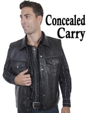This Mens Scully Black Lambskin Leather Concealed Carry Western Vest with snap front closure 2 snap flap chest pockets 2 lower diagonal side entry gun pockets with acetate lining concealed gun carry pockets.