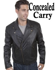 This classic Mens Scully Black Lambskin CCW Motorcycle Jacket asymmetric front zip closure with notched lapels snaps with 2 zip pockets and zip closing cuffs acetate lining and an inside concealed gun carry pocket.
