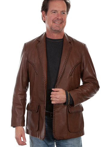 This Mens Scully Brown Lambskin Whip Stitch Cowboy Western Blazer has vintage reverse smile detail on chest. whip stitch treatment on front and lapels, detail stitching on flap pockets with Acetate lining and 2 inside pockets.