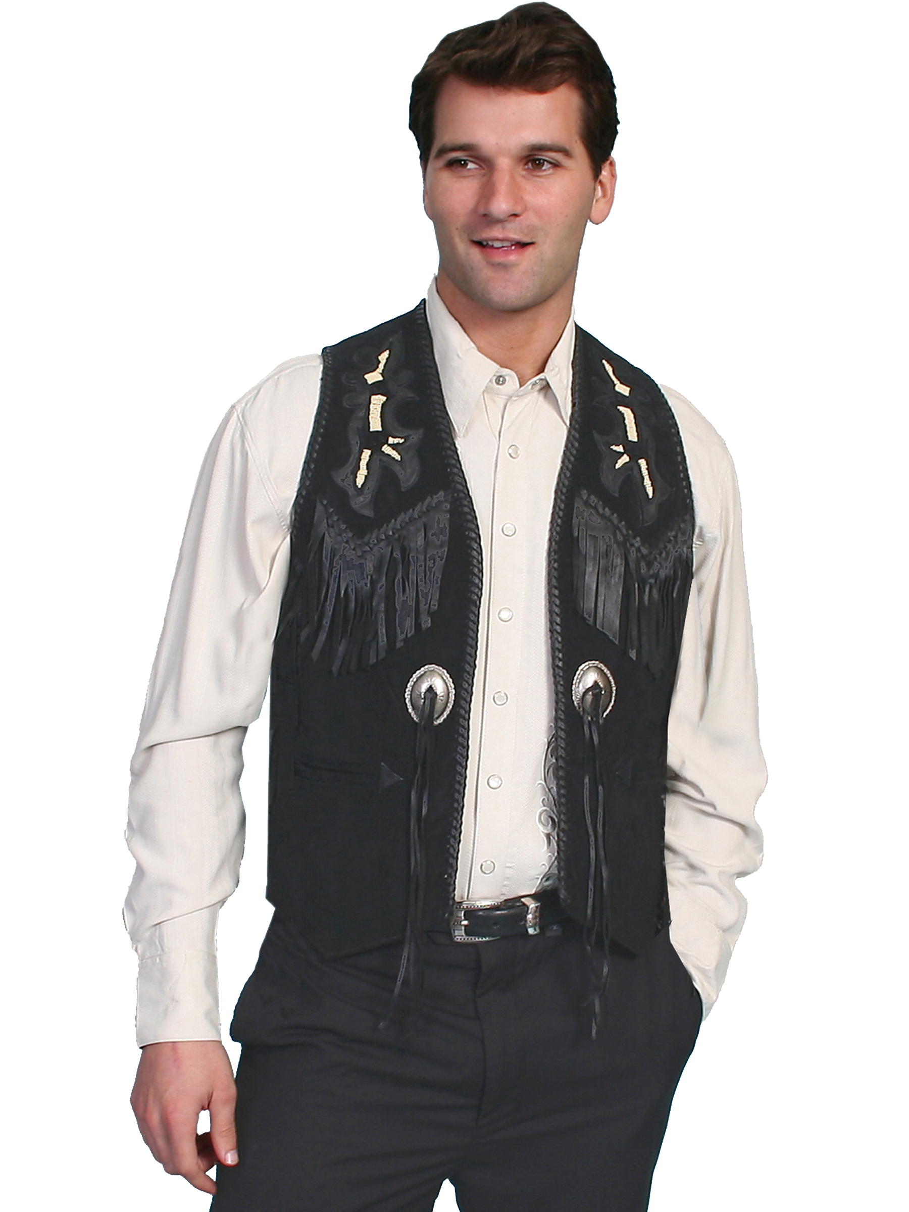 57a17694c2e Mens western vests suede leather, polyester or canvas