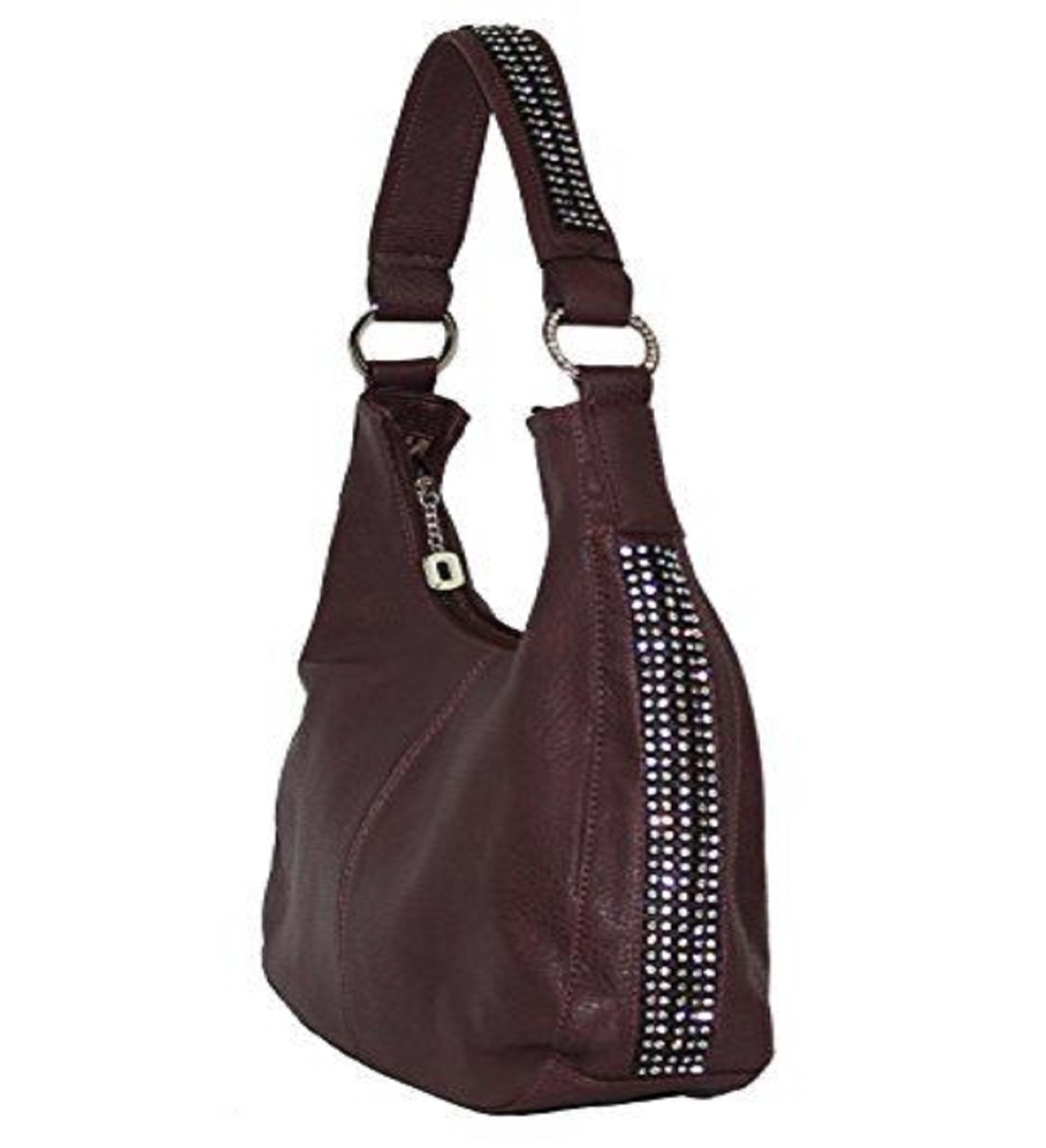 """Jenny"" Women's Wine Rhinestone Concealed Hobo Purse Handbag has an actual Holster that means no printing on your purse. No printing with this included gun holster for your leather concealed handbag."