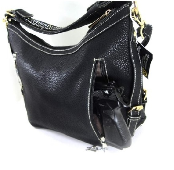 """Lisa"" Women's Black Vegan Leather Black Concealed Handbag has an actual Holster that means no printing on your purse. No printing with this included gun holster for your leather concealed handbag."