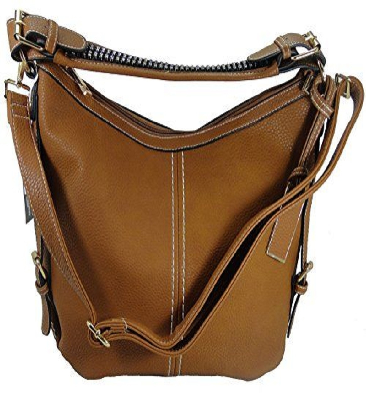 """Lisa"" Women's Vegan Leather Tan Rhinestone Concealed Handbag has an actual Holster that means no printing on your purse. No printing with this included gun holster for your leather concealed handbag."