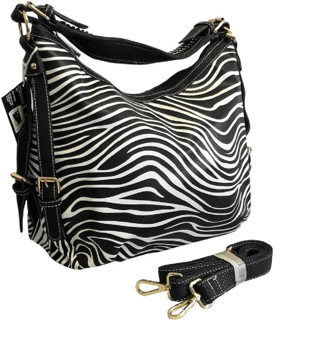 """Lisa"" Women's Vegan Leather Zebra Rhinestone Concealed Handbag has an actual Holster that means no printing on your purse. No printing with this included gun holster for your leather concealed handbag."