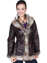 This Ladies Dark Brown marbled fur western coat by Scully is a stylish mottled faux shearling jacket that features laced body seams, two open front pockets with stud embellishments and front hook & eye closure.