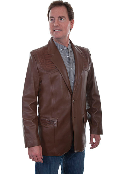 This Mens Lambskin and Caiman Brown Scully western blazer has genuine caiman sewn on in the USA single point yokes front, back caiman inlay. Lower front flap pockets for cowboys 2 button open front,