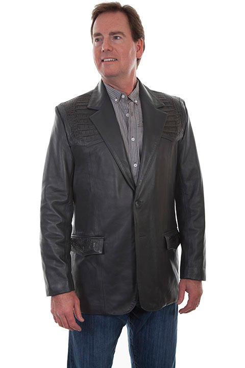 This Mens Lambskin and Caiman Grey Scully western blazer has genuine caiman inlays sewn in the USA single point yokes front back caiman inlay. Lower front flap pockets for cowboys and a two button open front