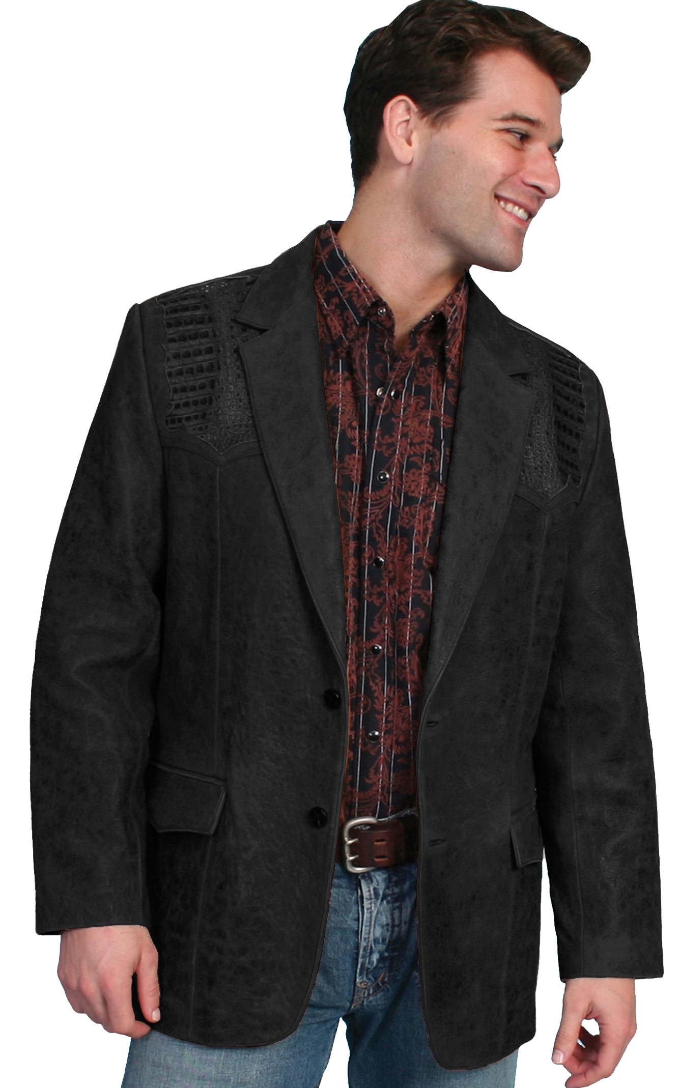 Mens Lambskin and Caiman Scully western blazer, scully coats, scully jackets, leather western jackets, western fringe jackets, fringe western jackets, daniel boone jacket, davey crocket jacket