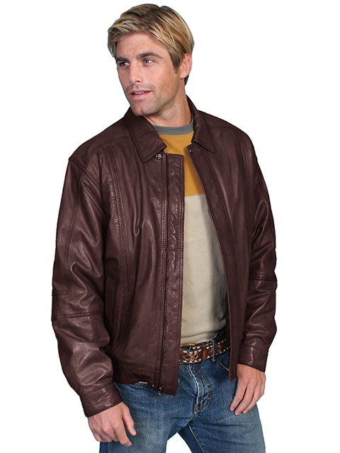 This Mens Scully brown soft Lambskin Jacket is avail in Big n Tall made of lambskin leather for the working cowboy who loves a quality western coat feels warm in a Zip front with snaps at collar and waist