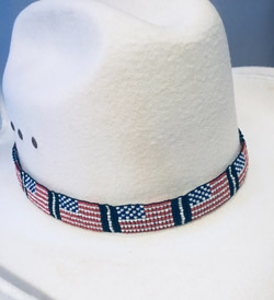 5ee1b86c80e Beaded USA Flag Cowboy Hat Band made in the USA