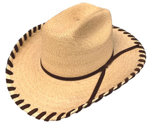 The Sahuayo Straw Brown Whip Stitch Baby Cowboy Hat is small enough to fit the baby cowboy or cowgirl, great for the first cowboy hat, cute for any baby or toddler. Retro whip stitch baby hat with comfortable inner stretch band for easy one size fit.