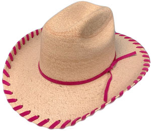 The Sahuayo Straw Pink Whip Stitch Baby Cowboy Hat is small enough to fit the baby cowboy or cowgirl, great for the first cowboy hat, cute for any baby or toddler. Retro whip stitch baby hat with comfortable inner stretch band for easy one size fit.