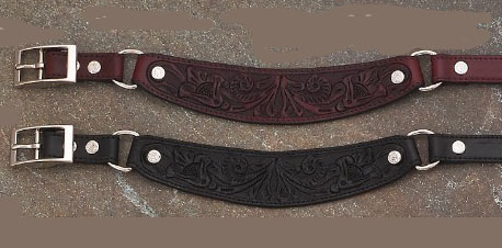 Chose from either Black or Cherry Brown Carved Leather Cowboy boot chains are hand made with a gorgeous black or cherry brown leather that makes a great cowboy western boot chains or boot bracelets