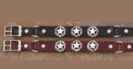 Chose from either Cherry Brown or Black Sheriff badge Western Star Boot Chains are hand made with a gorgeous cherry brown leather or black that makes a great cowboy western boot chains or boot bracelets
