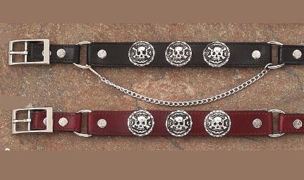 Chose from either Cherry Brown or Black Leather Skull Bones Cowboy boot chains are hand made with a gorgeous black or cherry brown leather that makes a great cowboy western boot chains or boot bracelets