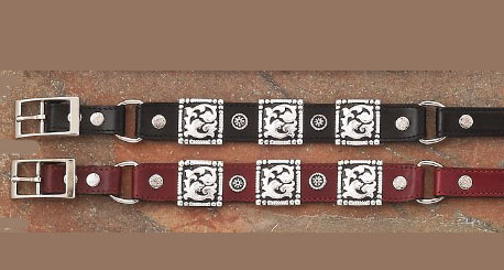Chose from either Cherry Brown or Black Leather Square Concho Cowboy boot chains are hand made with a gorgeous black or cherry brown leather that makes a great cowboy western boot chains or boot bracelets