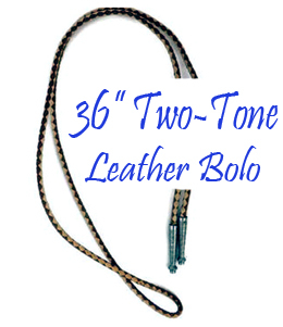 "This 36"" Black & Brown Two Tone leather Bolo tie String made in the USA makes a great replacement string for your existing bolo, hand made in real leather with silver ends."