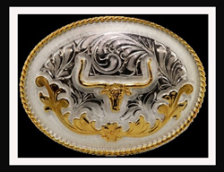 This Sterling Silver Gold Plated Longhorn Oval Belt Buckle is a great addition to your cowboy belt with this beautiful etched Sterling silver oval shaped belt buckle and gold plated Longhorn for any western cowboy.
