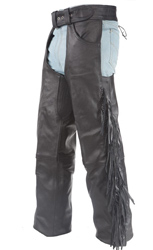 "28"" THIGH Black Cowhide leather braided fringe chaps"