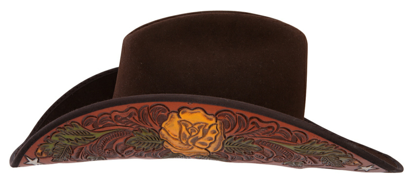 "The Charlie 1 Horse 3X ""TEXAS LADY"" Brown wool Cowboy hat is made in the USA by Stetson brand Charlie 1 horse. This is a unique texas rose tooled leather wool cowboy or cowgirl hat true one of a kind cowboy hat"