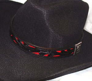 "This 1"" Tooled Black with Red Leather Inlay Hat Band is made in the USA of genuine leather with a turquoise inlay on a black tooled leather cowboy hat band with a silver side concho with a hidden hook keeper"
