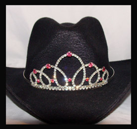 This Cinderella fuchsia pink Rhinestone Cowboy hat tiara is made in the USA for the the rodeo princess queen or any other horse drill team rodeo event. This is a unique crown for a cowboy hat that stands out in horse shows