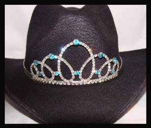 This Cinderella Ice Blue Rhinestone Cowboy hat tiara is made in the USA for the the rodeo princess queen or any other horse drill team rodeo event. This is a unique crown for a cowboy hat that stands out in horse shows