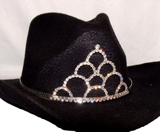 "LARGE ""Loping Loops"" Rhinestone Cowboy hat tiara is proudly made in the USA for the miss princess of the rodeo to be crowned by this cowboy hat tiara is an exciting look an any cowgirl competing to be the horse show winner."