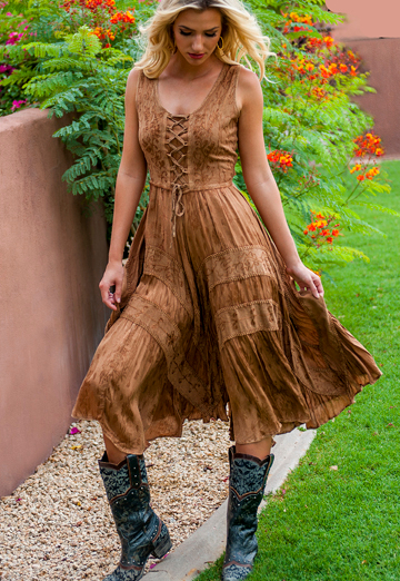 The Scully Womens Full Length Beige Western Flowing Dress is a Full length lace-up front sleeveless dress with scrolling fabric throughout and tier panels in skirt area that is 100% rayon.