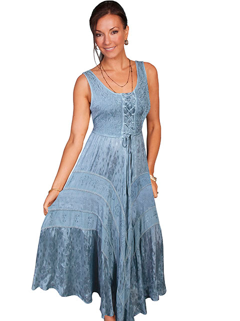 The Scully Womens Full Length Grey Western Flowing Dress is a Full length lace-up front sleeveless dress with scrolling fabric throughout and tier panels in skirt area that is 100% rayon.