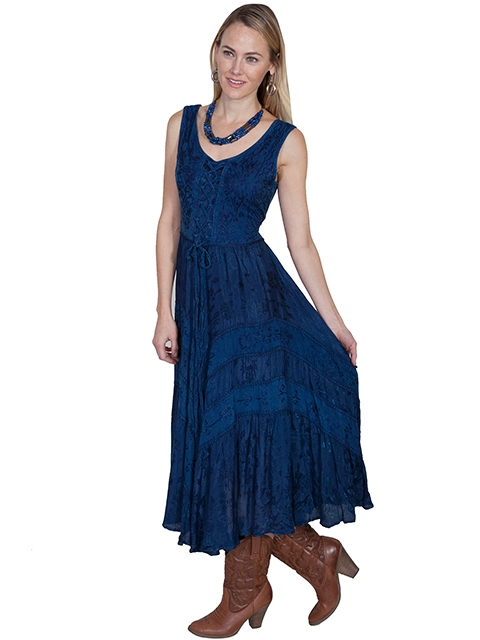 The Scully Womens Full Length Blue Western Flowing Dress is a Full length lace-up front sleeveless dress with scrolling fabric throughout and tier panels in skirt area that is 100% rayon.