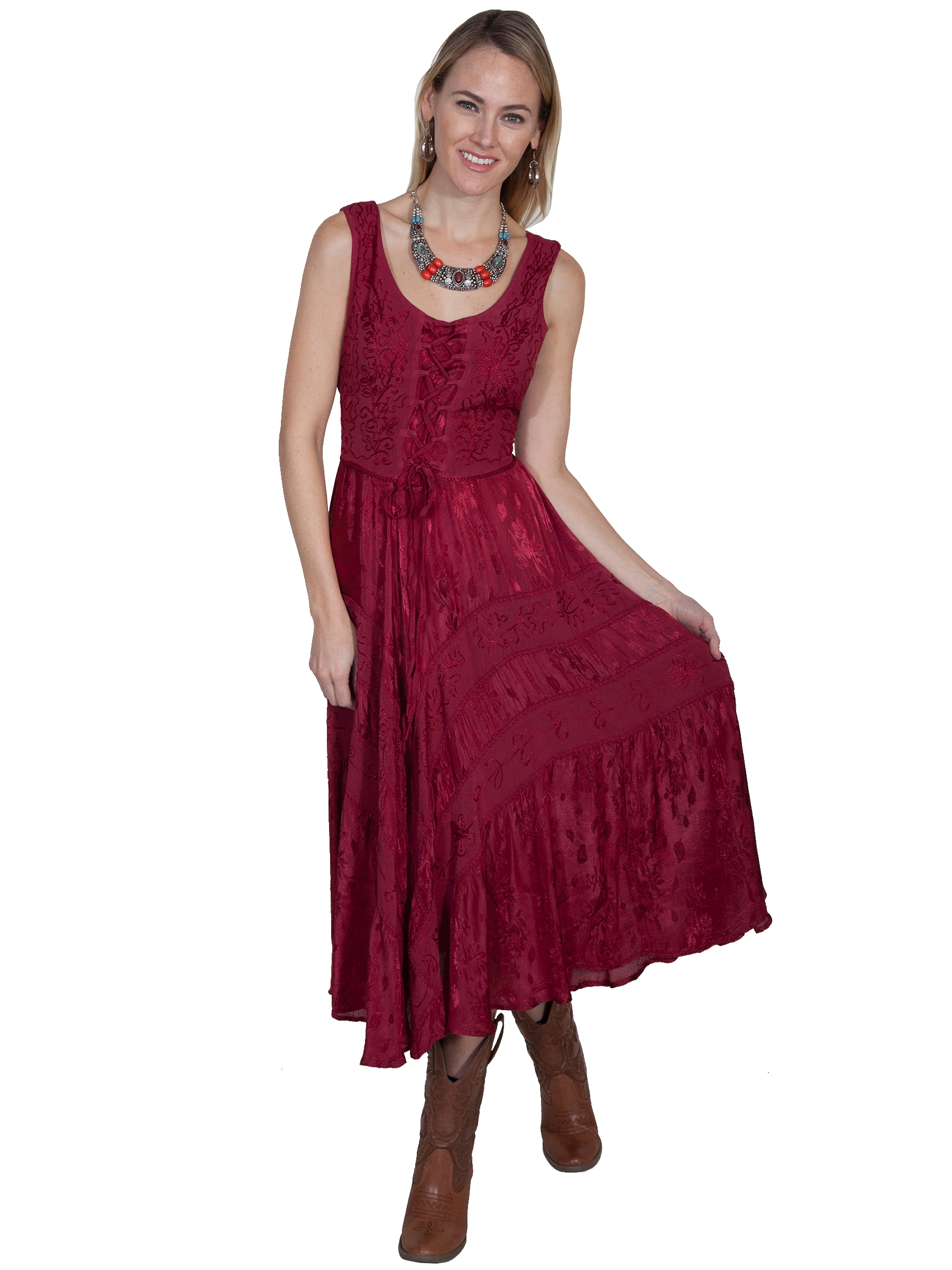 The Scully Womens Full Length Burgundy Western Flowing Dress is a Full length lace-up front sleeveless dress with scrolling fabric throughout and tier panels in skirt area that is 100% rayon.