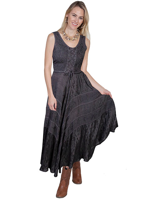 The Scully Womens Full Length Gun Metal Western Flowing Dress is a Full length lace-up front sleeveless dress with scrolling fabric throughout and tier panels in skirt area that is 100% rayon.