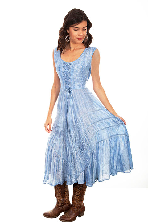 The Scully Womens Full Length Sky Blue Western Flowing Dress is a Full length lace-up front sleeveless dress with scrolling fabric throughout and tier panels in skirt area that is 100% rayon.