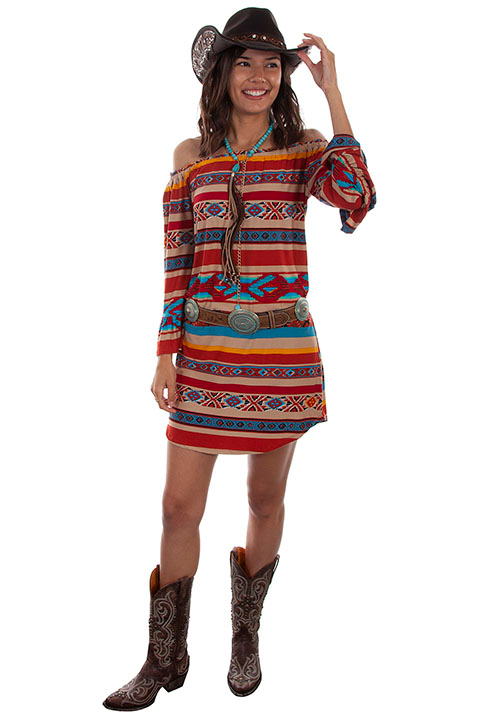 This Scully Womens Short Serape Western Dress is a serape peasant dress with a pull over stylish cowgirl country dress with off the shoulders long sleeves in a Aztec Indian design.