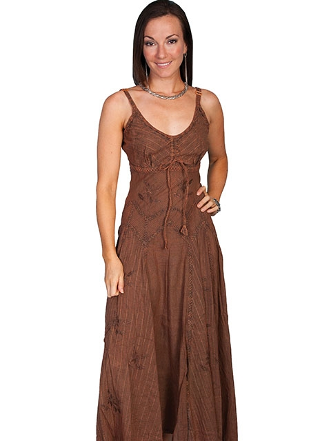 This Scully Womens Full Length Brown Copper Western Spaghetti Dress has a multi fabric design on this beautiful country cowgirl dress with spaghetti straps and adjustable front tie.
