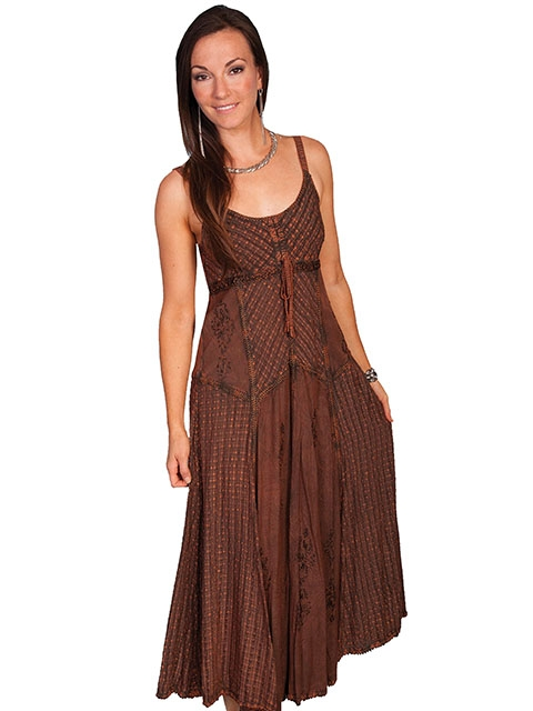This Womens Full Length Copper Tone on Tone Western Spaghetti Dress has a multi fabric design on this beautiful country cowgirl dress with spaghetti straps and adjustable front tie.